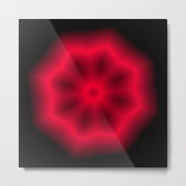 Bright Red Pointed Circle Kaleidoscope Pattern w/Black Metal Print