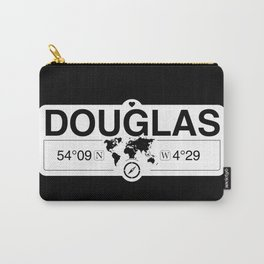 Douglas Isle of Man GPS Coordinates Map Artwork with Compass Carry-All Pouch
