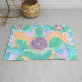 Tropical Flamingo Pastel Print Rug