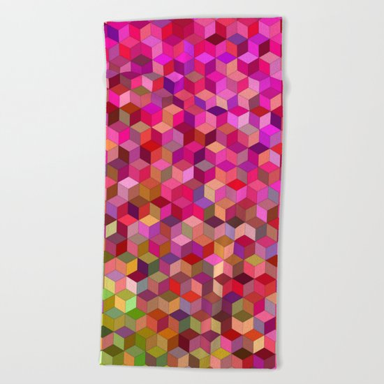 Girly cube structure Beach Towel