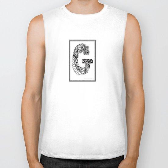 Zentangle G Monogram Alphabet Illustration Biker Tank