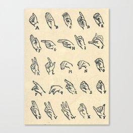Vintage Sign Language Alphabet Canvas Print