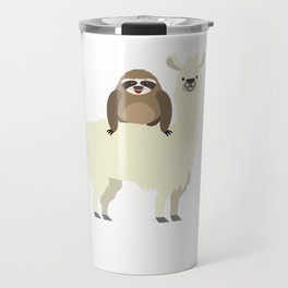 Cute & Funny Sloth Riding Llama Travel Mug