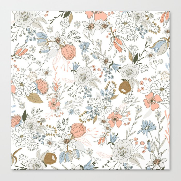 Abstract modern coral white pastel rustic floral Leinwanddruck
