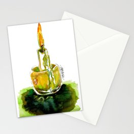Candlight: A watercolor from the wild woods of Quebec, Canada Stationery Cards