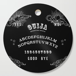 Ouija Board White on Black Cutting Board