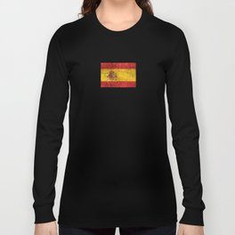 Vintage Aged and Scratched Spanish Flag Long Sleeve T-shirt