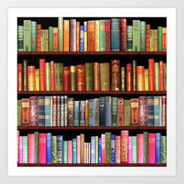 Book Lovers Gifts, Antique bookshelf Art Print