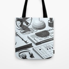Low Poly Studio Objects 3D Illustration Grey Tote Bag