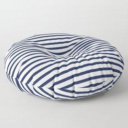 Navy Blue Nautical Stripes Minimal Floor Pillow