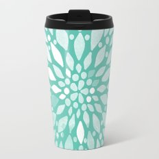 Radiant Dahlia in Teal and White Travel Mug