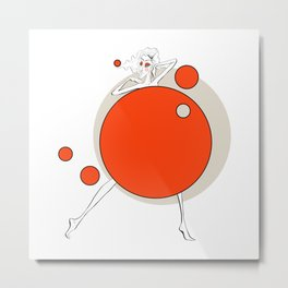 Paper doll with red balls Metal Print