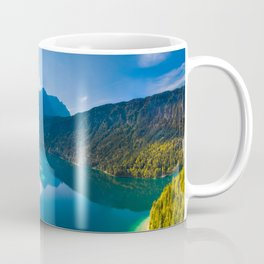 Aerial view of Eibsee lake and Zugspitze mountain Coffee Mug