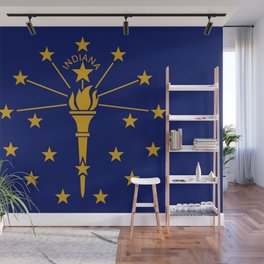 Gold and Blue Stars and Torch on Flag of Indiana Wall Mural