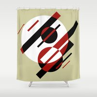 planets Shower Curtains featuring OTHER PLANETS by THE USUAL DESIGNERS