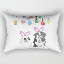 Happy Easter - Bulldog Bunnies Rectangular Pillow