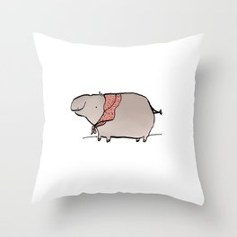 Hippo Wearing A Shawl Throw Pillow