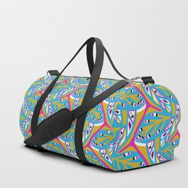 Bright Seedpods in the Wind Abstract Nature Geo Pattern in Pink , Green and Turquoise Color Palette Duffle Bag