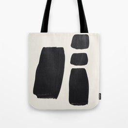 Mid Century Modern Minimalist Abstract Art Brush Strokes Black & White Ink Art Square Shapes Tote Bag