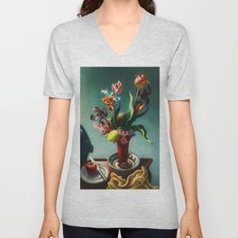 American Masterpiece 'Still Life with Spring Flowers' by Thomas Hart Benton Unisex V-Neck