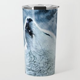 A howling wolf in the rain Travel Mug