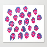 sunglasses Canvas Prints featuring Sunglasses by leah reena goren