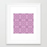 wallpaper Framed Art Prints featuring Pink kaleidoscope wallpaper by David Zydd