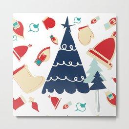 Christmas tree blue Metal Print