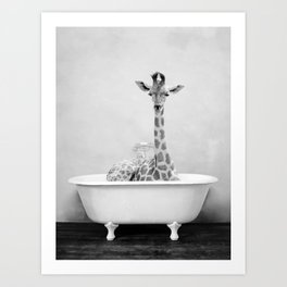Skeptic Giraffe in Bath BW Art Print