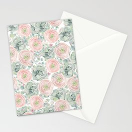 Flowers And Succulents White  #buyart #decor #society6 Stationery Cards