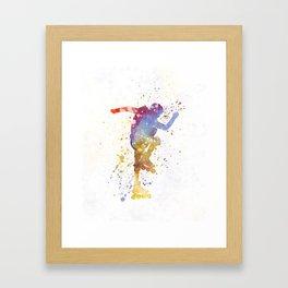 Man roller skater inline 02 in watercolor Framed Art Print