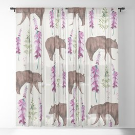 Wild and free I Bear and flowers Sheer Curtain