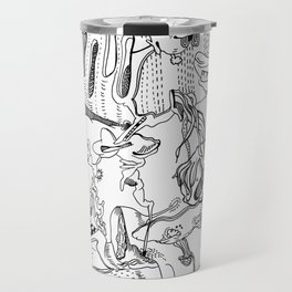Very detailled surrealism sketchy doodle ink drawing Travel Mug