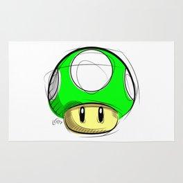 1 UP Mushroom Digital Drawing, Games Art, Super Mario, Nintendo Art Rug