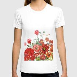 Vintage & Shabby Chic - Red Summer Flower Garden T-shirt