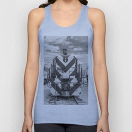 Chicago and North Western Diesel Electric ALCO Locomotive Train Engine 1689 Black and White Photography Unisex Tank Top