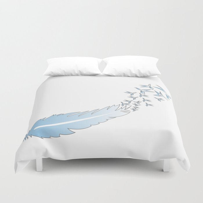 Origami Feather Birds Duvet Cover