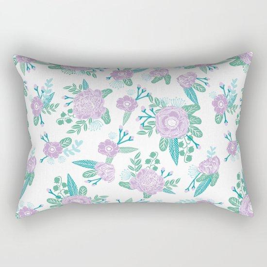 Floral bouquet pastel mint lilac florals painted painted pattern basic minimal pattern print Rectangular Pillow