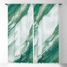 Emerald Jade Green Gold Accented Painted Marble Blackout Curtain