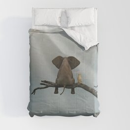 elephant and dog sit on a tree during a flood Comforters