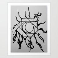 Geometric Medusa Moon Art Print