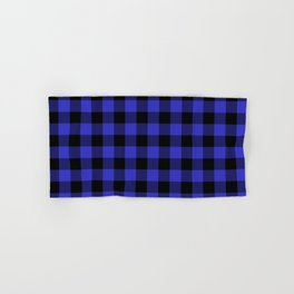 Jumbo Cornflower Blue and Black Rustic Cowboy Cabin Buffalo Check Hand & Bath Towel