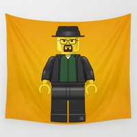 walter white Wall Tapestries featuring Lego Walter White - Vector by FAMOUS WHEN DEAD