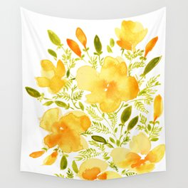 Watercolor California poppies (Quad set, #1) Wall Tapestry