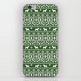 Westie fair isle west highland terrier christmas holiday gifts dog pattern green iPhone Skin