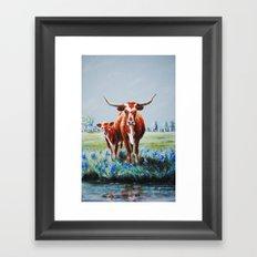 Longhorns and Bluebonnets Framed Art Print