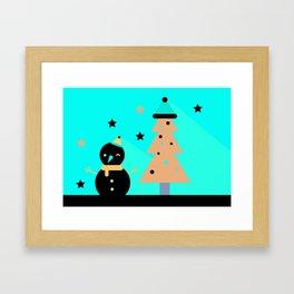 Mr Snowman & Mr Tree Framed Art Print