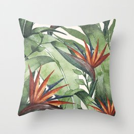Tropical Flora I Throw Pillow