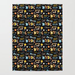Sports pattern for basketball. For boy. Poster