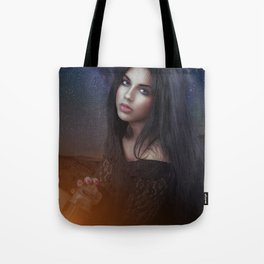 Woman and a Galaxy Tote Bag